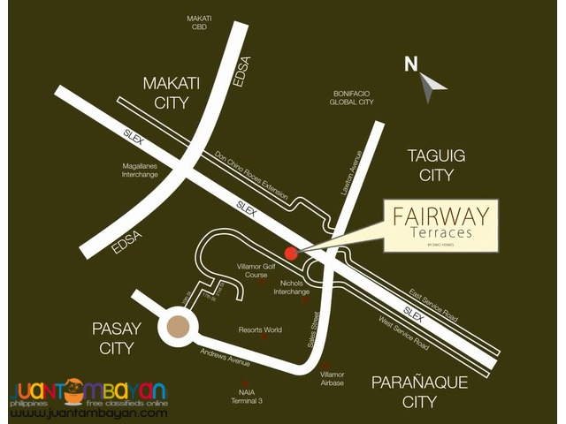 1, 2 & 3 BR Villamor Pasay NAIA SLEX Condo - Fairway Terraces