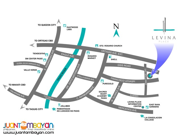 2 & 3 BR Rosario Pasig Condo Ortigas Ave. Levina Place Condominium