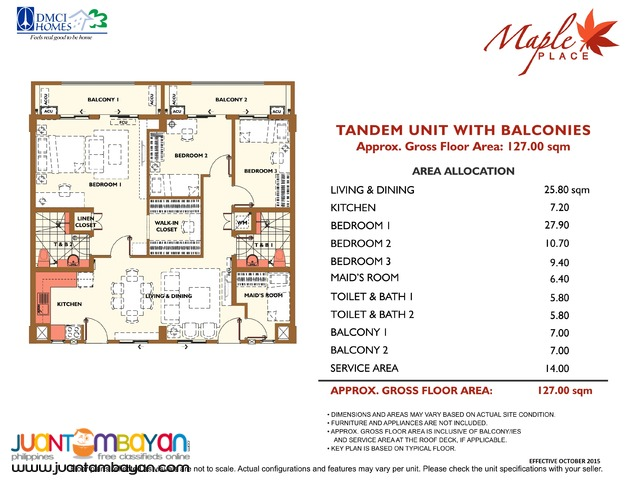 2 & 3 BR Taguig C5 Slex Condo Maple Place Condominium