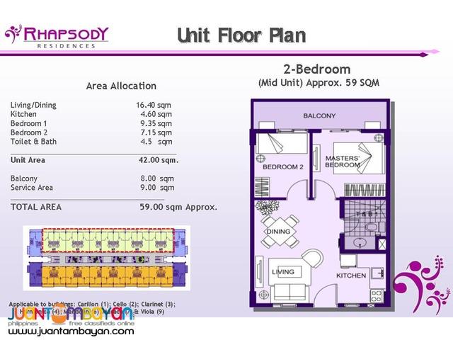 2 & 3 BR Sucat Muntinlupa Condo Rhapsody Residences Condominium