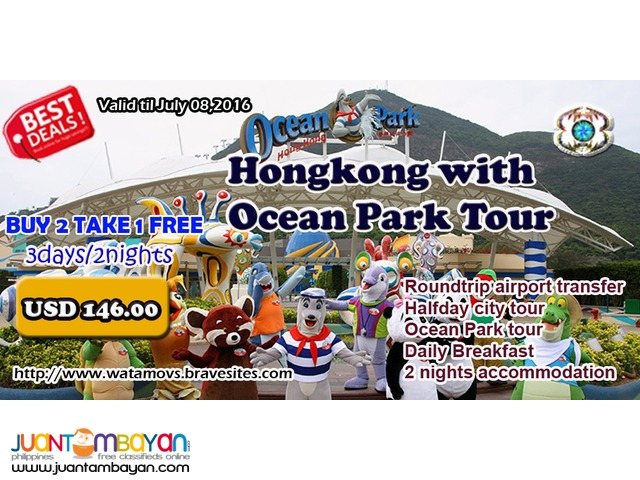 Buy 2 Take 1 Free Hongkong With Ocean Park Tour
