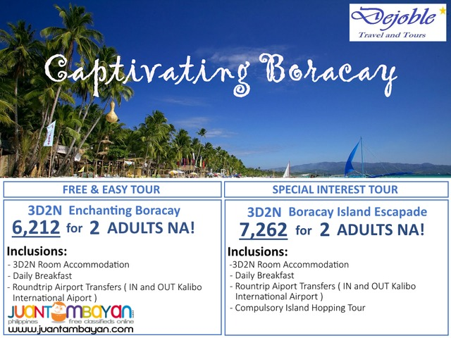 3D2N BORACAY FREE AND EASY TOUR 6,212 for 2 ADULTS NA!