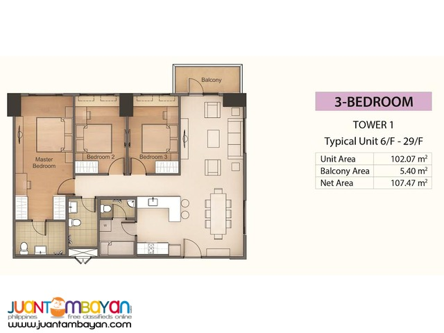 Condo 3BR for as low as P70,142 mo equity in Mandaue