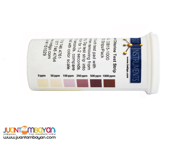 Chlorine Test Strips for Food Safety 0 to 1000 ppm