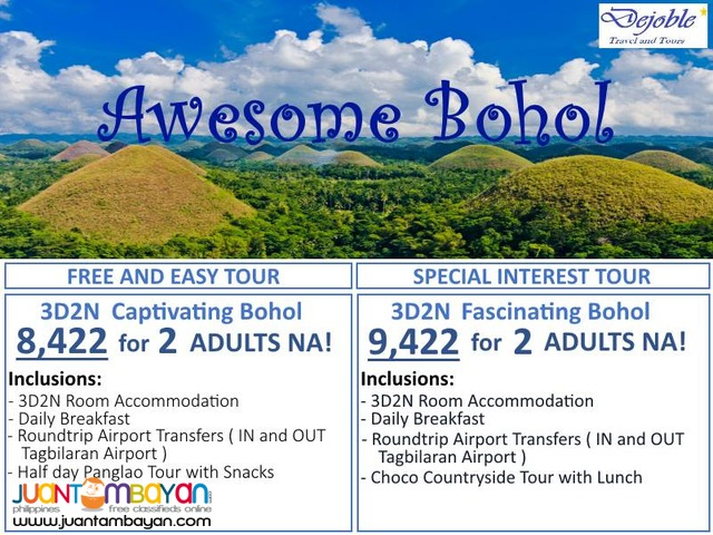 3D2N BOHOL PROMO TOUR PACKAGE 8,422 for 2 ADULTS NA!