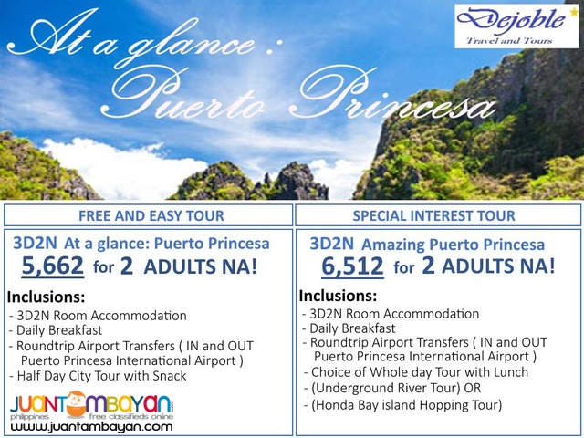 3D2N Puerto Princesa FREE AND EASY TOUR 5,662 for 2 ADULTS NA!