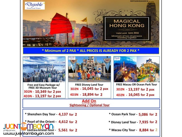 3D2N Hong Kong Package w/ FREE 3D Museum Tour 10,349 for 2 ADULTS NA!