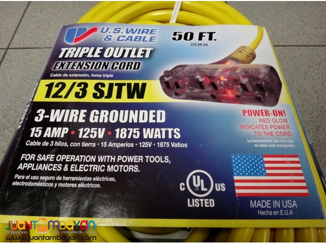 US Wire 12/3 50-Ft SJTW Yellow Heavy Duty Ext Cord w Pow-R-Block
