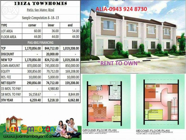 Rent to own house&lot in Rizal
