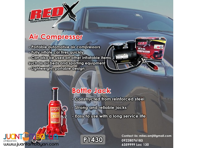 Red X Air Compressor + Red X  Bottle Jack 4T