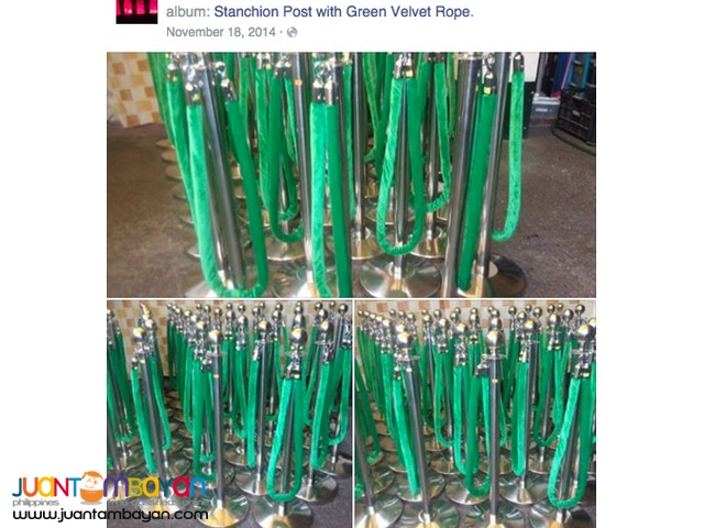 30 STANCHIONS WITH GREEN VELVET ROPE MAKATI AREA
