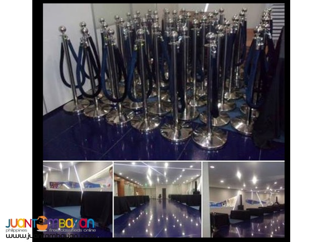 40 PCS STANCHIONS WITH BLUE VELVET ROPE FOR RENT