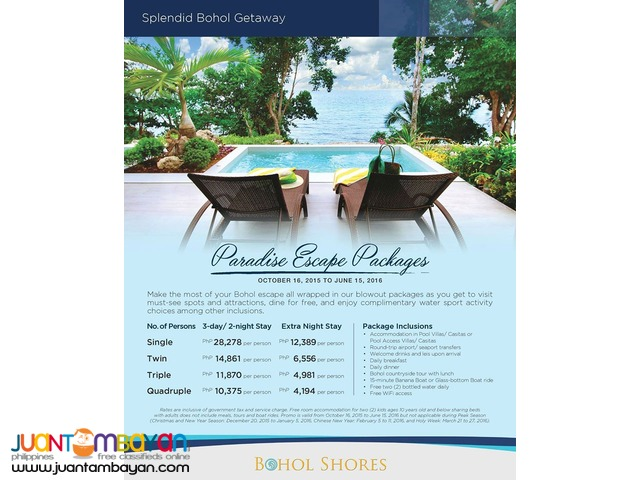 BOHOL SHORES PARADISE ESCAPE PACKAGE