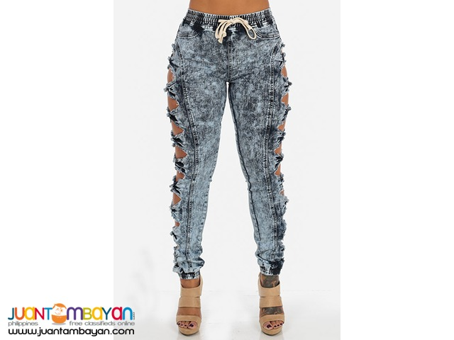 Stylish Mid Waist Broken Holes Dark Blue Denim Skinny Pants
