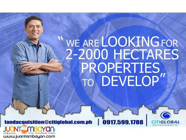 We are searching for properties 2-2000 Hectares in BATANGAS