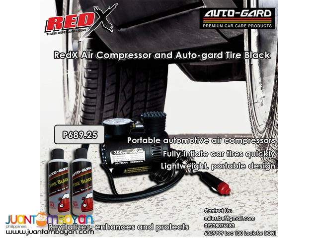 RedX Portable Air Compressor and Auto-gard Tire Black