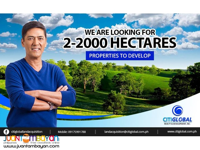 We are looking for properties 2-2000 hectares in DAVAO