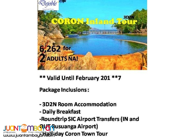 3D2N Coron Free and Easy Tour  6,262 for 2 ADULTS NA!