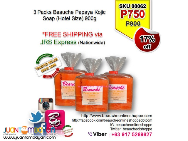 BEAUCHE PAPAYA KOJIC SOAP - HOTEL SIZE  900g (3PACKS)
