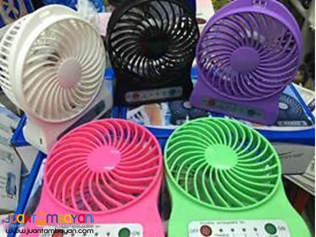 Portable Mini Rechargeable LED Light Fan With Battery & USB Cable