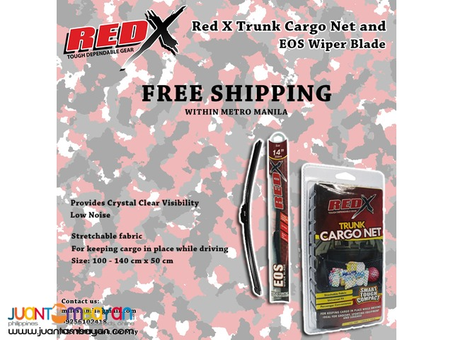 Red X EOS WIPER BLADE AERODYNAMICS + Red X Floor Style Trunk Cargo Net