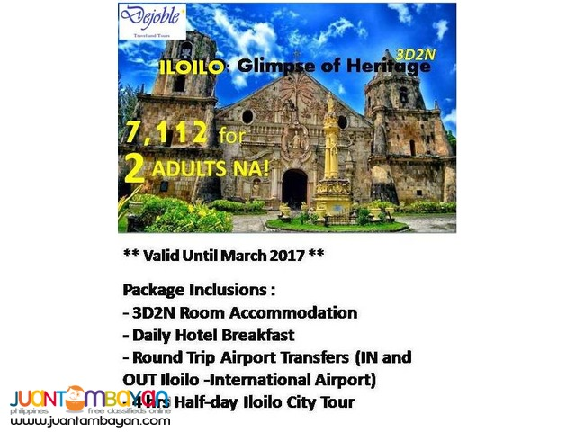 3D2N Iloilo Free and Easy Tour 7,112 for 2 ADULTS NA!