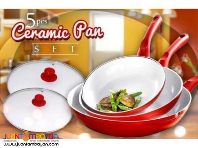 5PC CERAMIC COATED FRYING PAN SET
