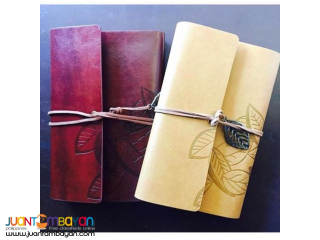 Vintage Leaf Leather Cover Notebook Journal Diary