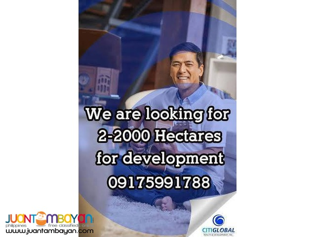 We are looking for properties 2-2000 hectares in CAVITE