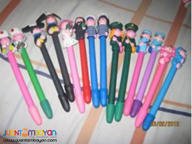 Polymer clay pens cute designs for giveaways