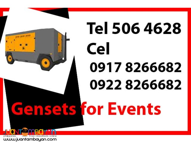 Gensets for Event Rental Hire Manila Philippines