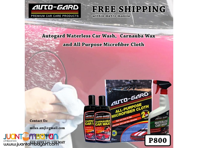 WaterLess Car Wash +Carnauba Wax +Microfiber Cloth
