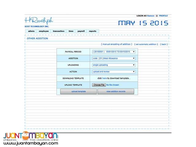 Web Based Payroll Timekeeping HRIS PMS Jobs Training System