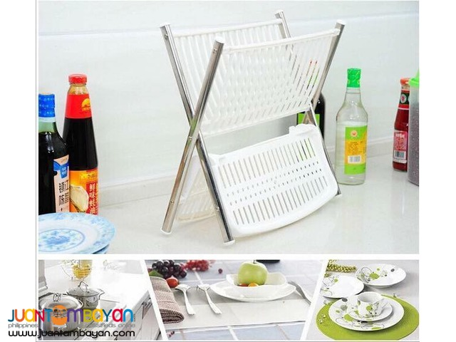 2 Tier Multi Functional Folding Kitchen Dish Rack