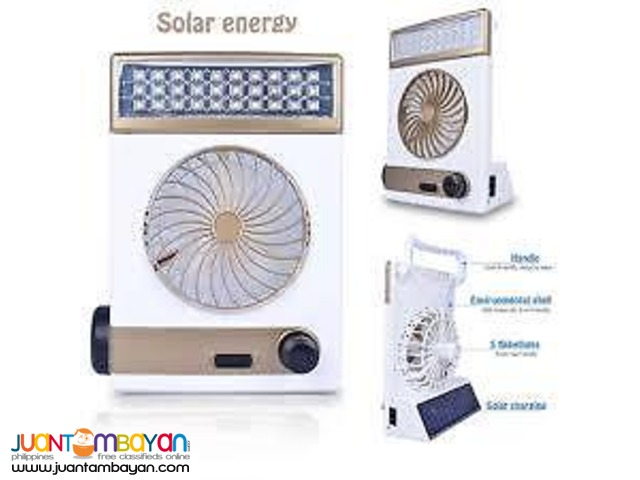 3 in 1 Solar Rechargeable Multi Purpose Fan Light Emergency LED Lamp