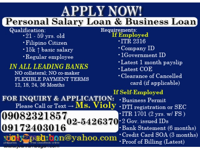 Avail Now! Personal Salary Loan, Business Loan, Car Loan
