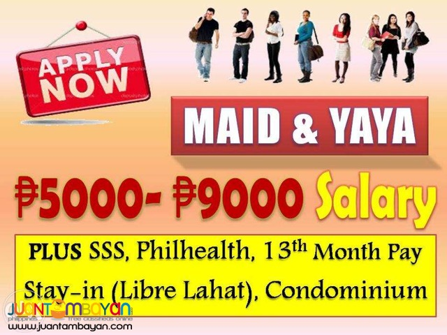 URGENT Maid Job in MAKATI CALL/TEXT 0919-621-5701