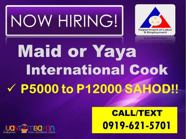 WANTED MAID & YAYA CALL/TEXT 0919-621-5701