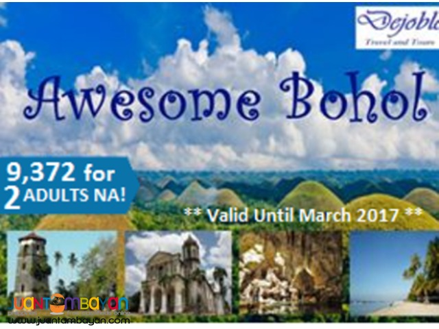 BOHOL Free and Easy Tour Package 9,372 for 2 ADULTS NA!