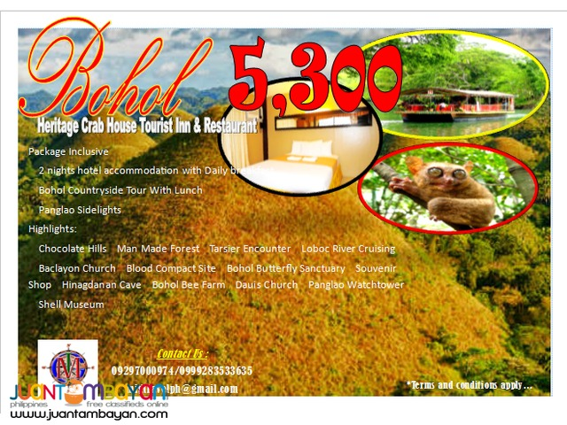 Bohol tour package promo