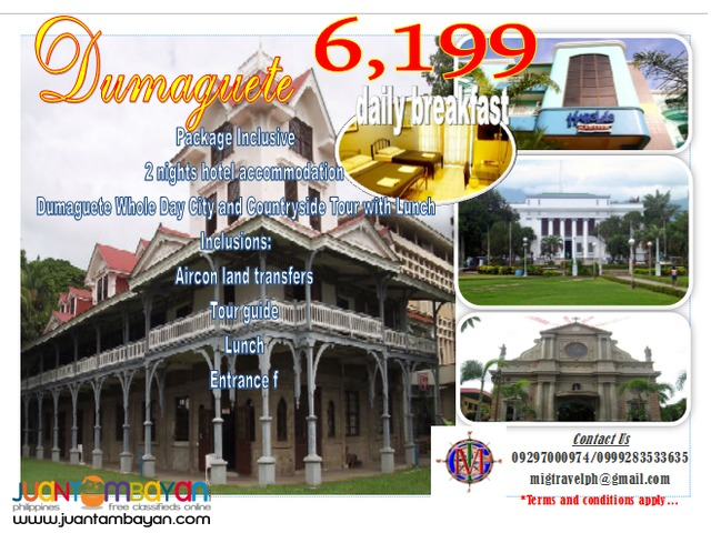 Dumaguete city tour package promo
