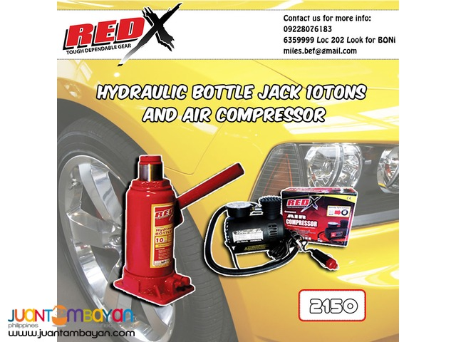 10tons Hydraulic Bottle Jack and Air Compressor Bundled