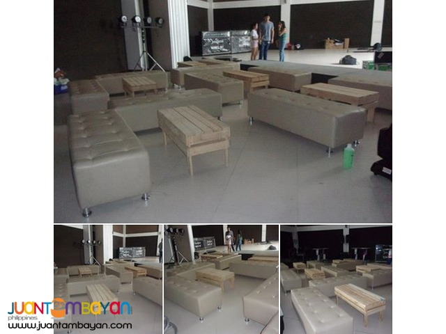10 andrei couches, 5 wooden tables & 10 ottoman