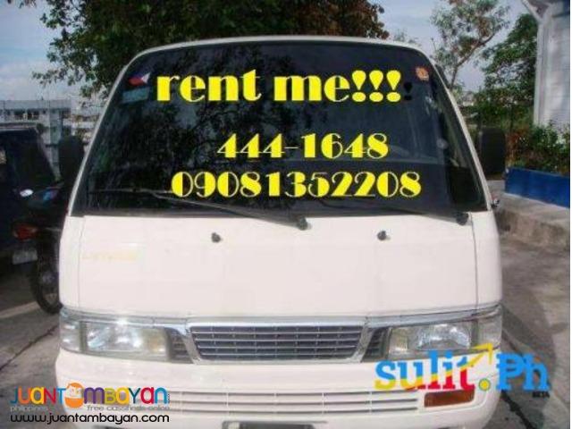 Nissan urvan 18 cap. for rent