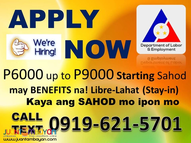 WANTED MAID & YAYA CALL/TEXT 0919-621-5701