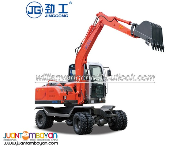 JG75S hydraulic wheel excavator with 50KW powerful engine for sale!