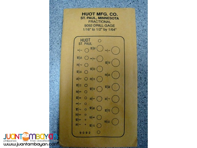 Huot 12250 Drill Bit Gauge for Fractional Sizes 1/16-inch to 1/2-inch