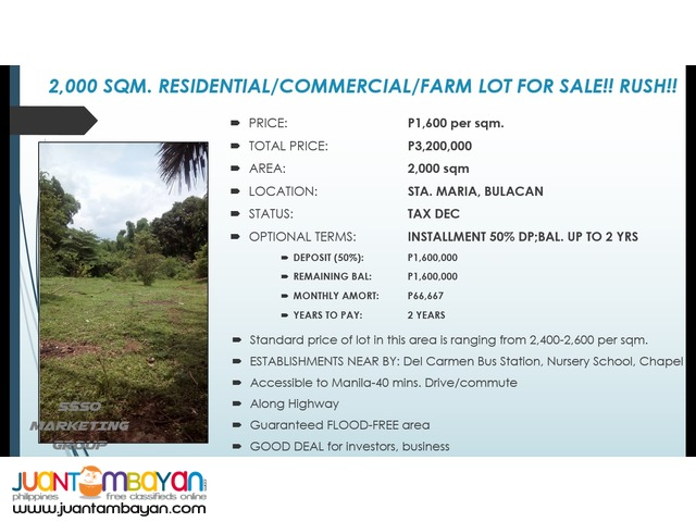 COMMERCIAL/RESIDENTIAL/FARM LOTS FOR SALE!! RUSH!!