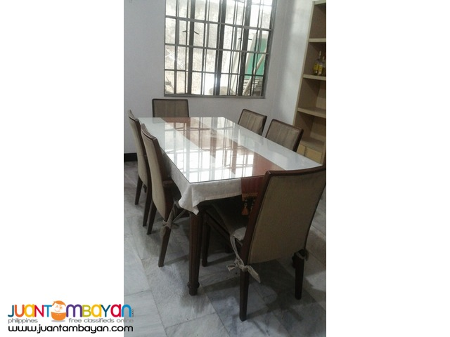 Dining Table with Glass, 6 Seater - Used-