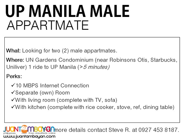 Room for Rent (Male Boarders)